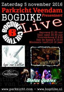 Zaterdag 5 november 2016 Parkzicht presenteert Bogdike Live !!!!!!!