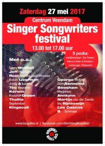 Welke artiesten doen mee aan het Singer Songwriters festival 2017 in Veendam?
