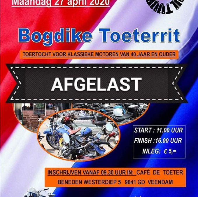 Bogdike's Toeterrit op Koningsdag 27 april gaat niet door